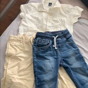 Baby Gap top with 2 pairs of pants